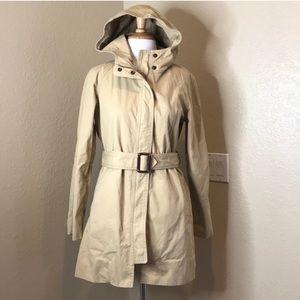 J. Crew | Classic Beige All Year Hood Trench Coat